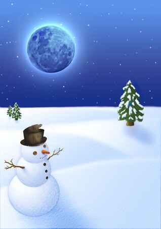 blu: snow landscape with funny snowman under a blu moon