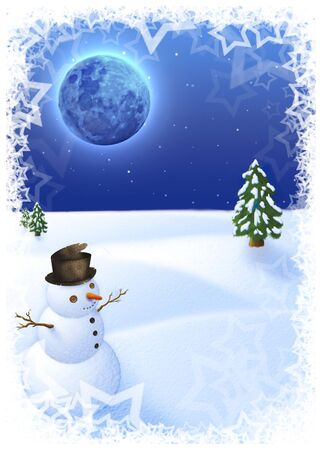 snow landscape with funny snowman under a blu moon