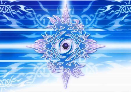 tribal illustration on blu 免版税图像
