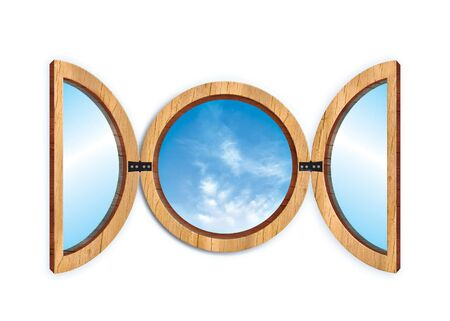 locking up: circular windows illustration with a blu sky Stock Photo