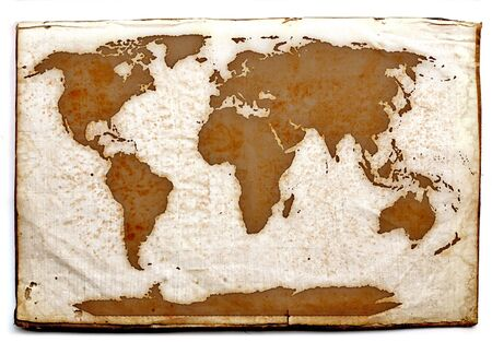ancient world map on old yellow  paper
