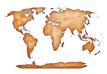 ancient world map isolated on white photo