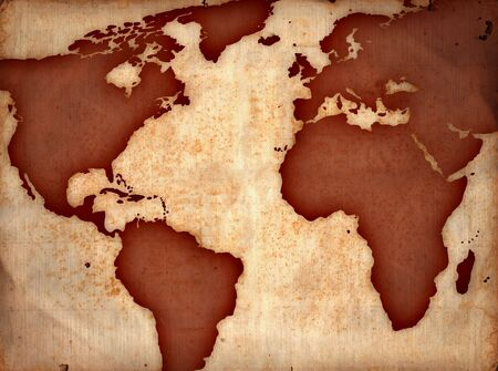 world map on ancient sheet, rusted old yellow paper Standard-Bild