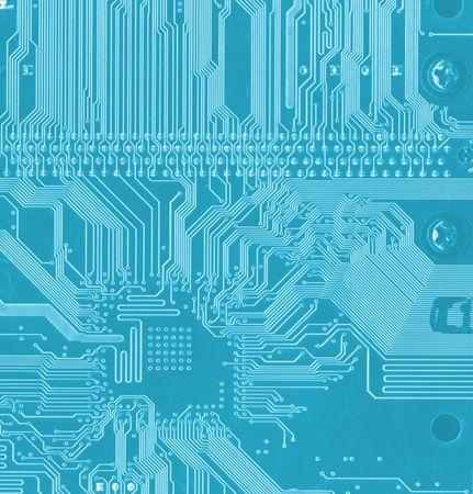 blauem Hintergrund mit Motherboard-Elektronik