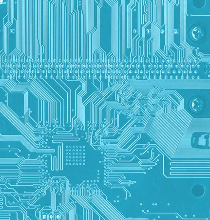blue background with motherboards electronic circuit Stock Photo