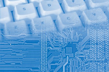 blue background with electronic circuit and keyboard 免版税图像