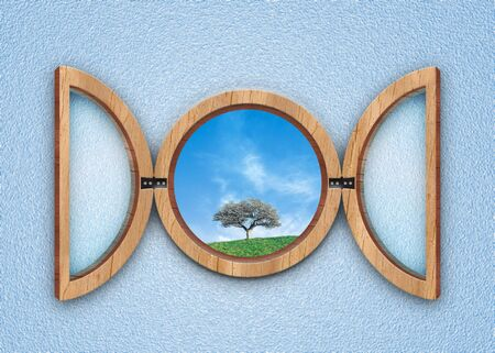 hill distant: circular windows illustration with a blu sky and one tree hill