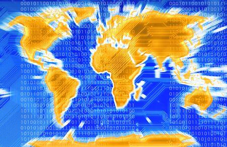 Karte der modernen Welt mit einer Schaltung im Hintergrund in blu
