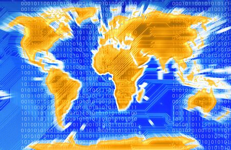 modern map of the world with a circuit in background in blu Stock Photo - 752526