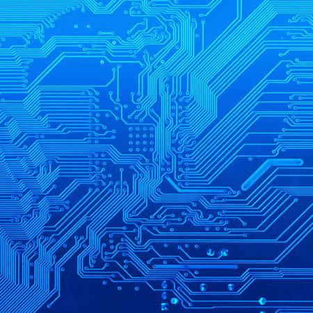 deep blu background with motherboard's electronic circuit 免版税图像