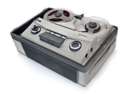 vintage grey analog recorder reel to reel photo