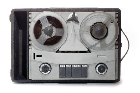 rec: vintage grey analog recorder reel to reel