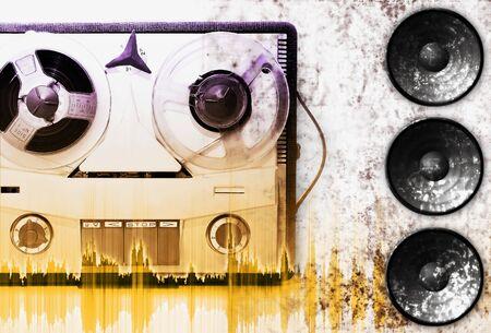 vintage grey analog recorder reel to reel