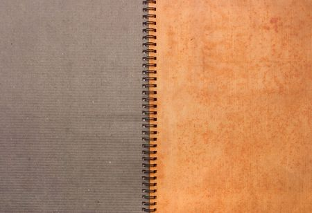 two pages of an old notebook with spring