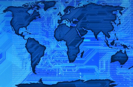 modernen Karte der Welt mit einer Schaltung im Hintergrund in blu