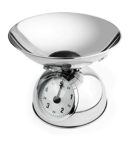 vintage shiny kitchen scales isolated on white background