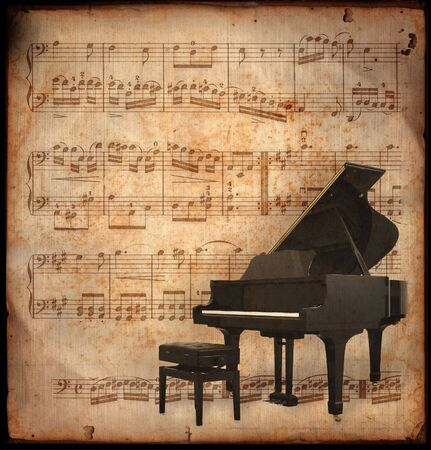 ancient music sheet, rusted old yellow paper with piano Standard-Bild