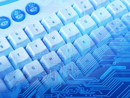 blue background with electronic circuit and keyboard Stock Photo