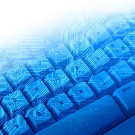blauem Hintergrund mit elektronischen Schaltungen und Tastatur
