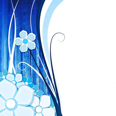 abstract background with flowers on blu with space for text