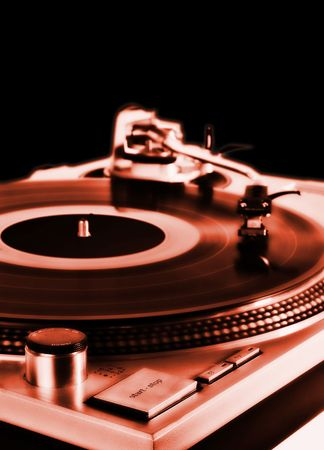 turntable on red - dj's vinyl player isolated on black background Stock Photo - 852269