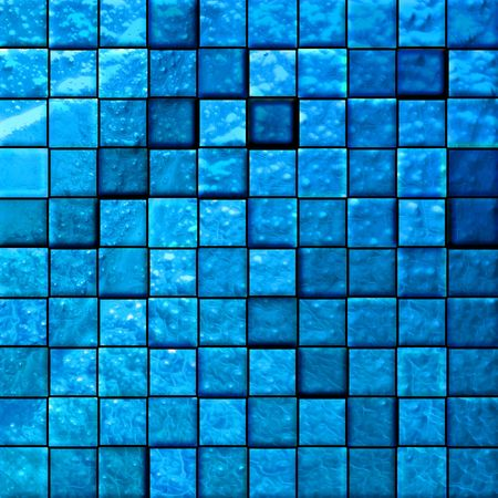 architectural architectonic: colorful modern mosaic tile in a bathroom blue Stock Photo