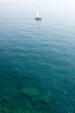 cinque terre: sailing boat in the limpid water of the Mediterranean - Cinque Terre - Italy