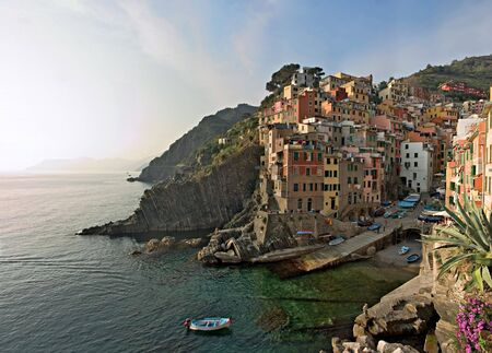 panoramic view at sunset of Riomaggiore - Cinque Terre - Italy Stock Photo