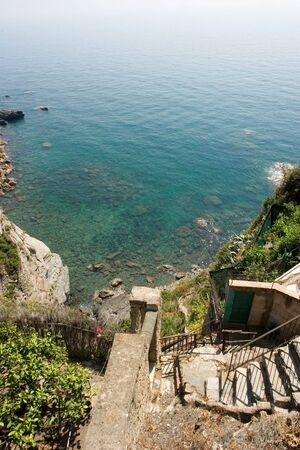 limpid: limpid water with stair in the Mediterranean - Cinque Terre - Italy