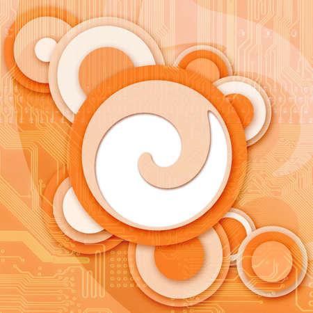 Zusammenfassung Jahrgang Hintergrund mit elektronischen Schaltung orange
