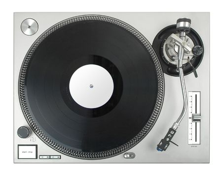 turntable - djs vinyl player isolated on white background photo
