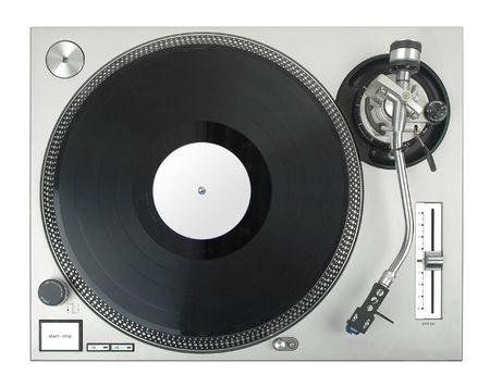 rec: turntable - djs vinyl player isolated on white background