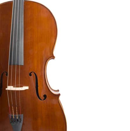 Cello isoliert auf weißem Hintergrund mit viel Platz kopieren Standard-Bild