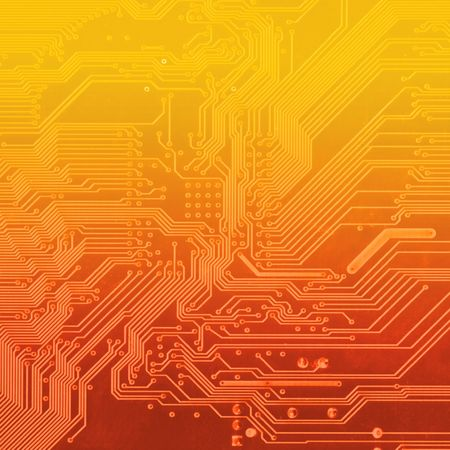 deep orange background with motherboard\'s electronic circuit