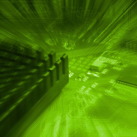 deep green background with motherboard's electronic circuit  免版税图像