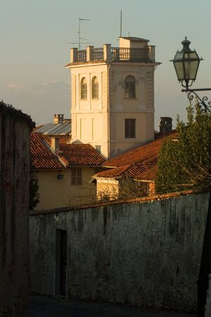 saluzzo: old house with tower in saluzzo, a beautiful historic city in the north of italy