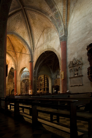 churchs interior of San Giovanni in saluzzo, a beautiful historic city in the north of italy photo