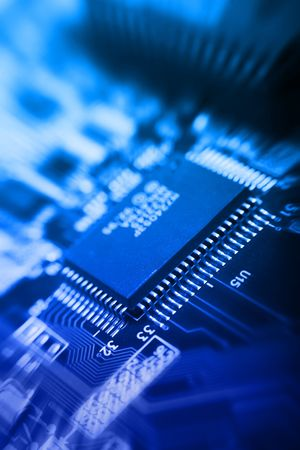 zoomed blu background with motherboards electronic circuit