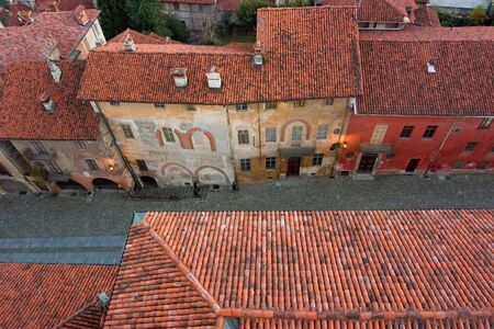 saluzzo: ancient street from the tower in saluzzo, a beautiful historic city in the north of italy