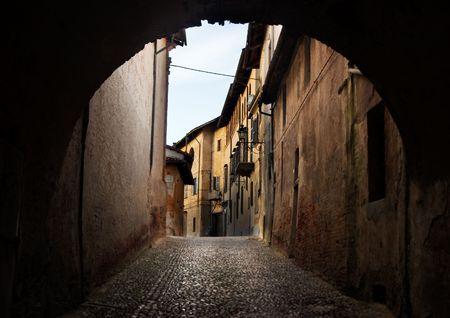 ancient arch in saluzzo - north of italy