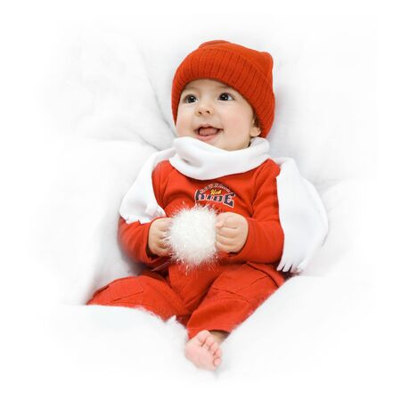 adorable baby smiling with christmas hat on white background Stock Photo