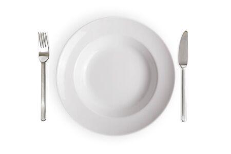 empty white dish isolated on white  Stock Photo
