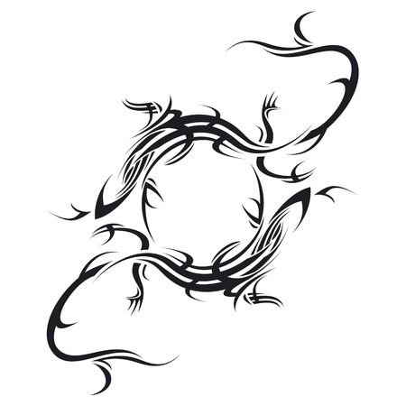 tribales: ilustraci�n tatuaje tribal de lagartija hacer dos c�rculo sobre fondo blanco  Foto de archivo