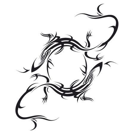 tribali: tatuaggio tribale illustrazione di due lucertola fare cerchio su sfondo bianco  Archivio Fotografico
