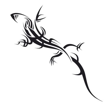 tribal tattoo illustration of a lizard on white  Stock Photo