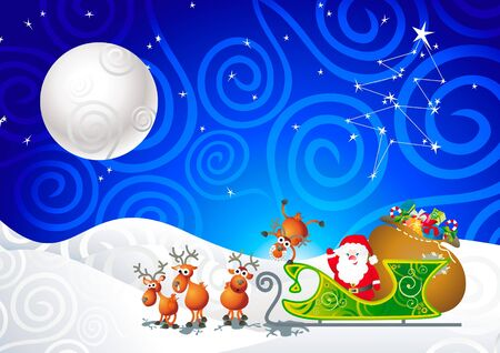 cartoon illustration with Santa, his sleigh and his reindeer