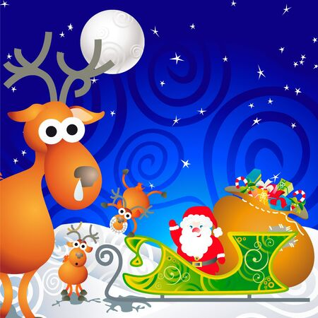 cartoon illustration with Santa, his sleigh and his reindeer illustration