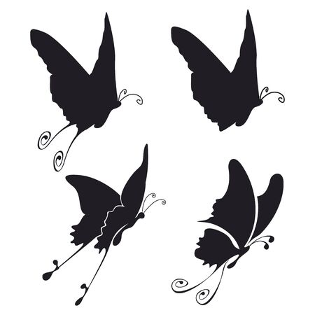 four illustration of fliyng buttefly black on white Stock Illustration - 3635885