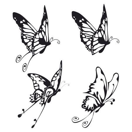 butterfly tattoo: cuatro ilustraci�n de fliyng Buttefly negro sobre blanco Foto de archivo