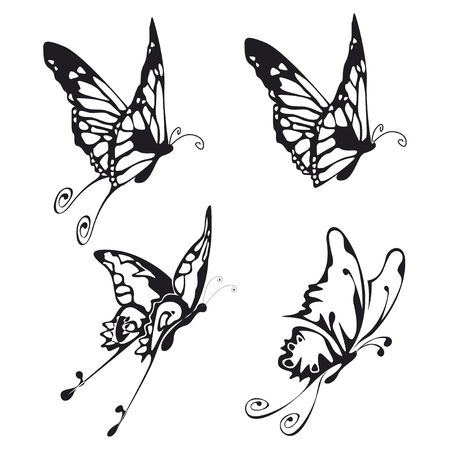 four illustration of fliyng buttefly black on white Stock Illustration - 3635888